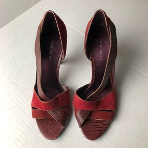 Nine West Red Suede Strap Heels Size 8.5